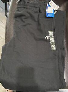 New Champion ECO P2469 Open Bottom Jersey Sweatpants for Men, X LARGE - Black