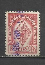 8566-SELLO ANTIGUO  FISCAL CORPORATIVO SOCIEDAD DEPORTIVA MILITAR DE BURGOS.5 P
