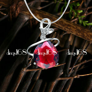 18K White Gold Filled Tarnish-Resist 17mm Red Teardrop Crystal Pendant Necklace