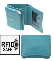Prime Hide Womens Small Turquoise Leather Purse Pouch Wallet RFID Blocking New