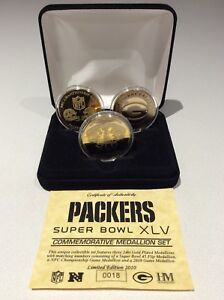 Limited Edition Green Bay Packers Super Bowl XLV 24kt Gold Medallion Set!