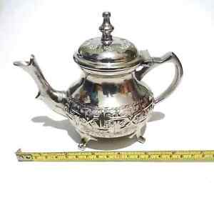 New Authentic Moroccan handcrafted Teapot Silver Plated from fez - Decoration