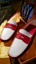 Tod's Gommini Penny Driving Loafer Moccasin Red White Leather 8.5 Unworn