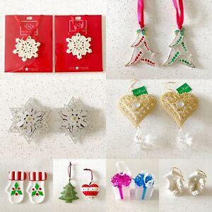 Lot of 16 Ornaments Glass Glitter Metal Lenox Trees Presents Snowflakes Nativity