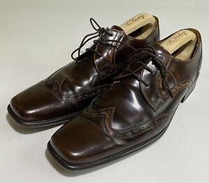 Jeff Banks Men's Wing Tip Derby Lace Up Brown Shoes - UK 11 VGC