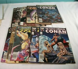 Lot Of 10 The Savage Sword Of Conan The Barbarian Comic Books, #91 - 100, 1983