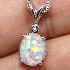 Vintage 4 Ct Oval Opal Pendant Necklace Women Birthday Anniversary Jewelry Gift