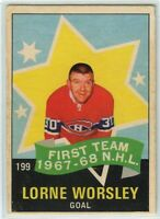 1968-69 OPC Hockey #199 Gump Worsley AS1 VG-EX Condition (2020-05)