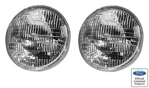 """Pair 7"""" Inch Halogen Sealed Beam Headlights Headlamps w/ Stamped Ford Logo"""