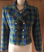 Cynthia Howie Vintage Double Breasted Plaid Tweed Cropped Jacket Blazer Size 4/6