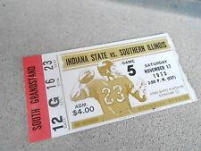 NOV 17 1973 NCAA football ticket stub INDIANA STATE vs SOUTHERN ILLINOIS