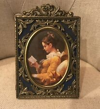 VINTAGE Italian Brass Blue Picture Frame MADE IN ITALY ACTION/CHESWICK, PA