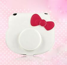 Leather Camera Case Bag For  Polaroid mini Hello Kitty 40th White