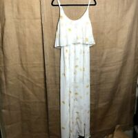 NWT Wayf Floral Tiered Maxi Dress Sz S Yellow White Boho Festival Hippie Gown