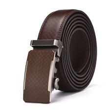 Autolock Men's Simple Automatic Buckle Leather Ratchet Belt Strap Jeans Gift