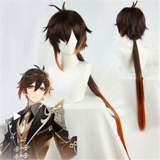 Anime Genshin Impact Zhongli Long Ponytail Hair Brown Cosplay Costume Wig 100cm