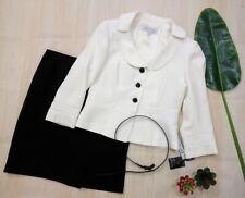 New Tahari ASL Womens Black Ivory 3 PC Business Skirt Suit Belt Petites 6P $280