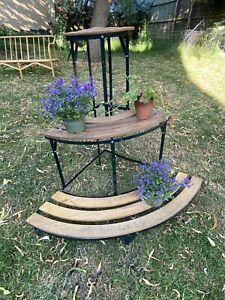 Vintage 3 Tier Corner Metal Wood Plant Stand  Garden Pot