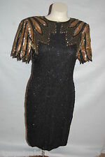 Womens BLACK GOLD BEADED SEQUIN DRESS Vintage 80s STENAY Party Cocktail 8 PETITE