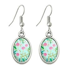 Dangling Drop Oval Charm Earrings You are Fabulous Flamingos Princesses Crowns