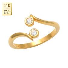 Zirconia Toe Ring 14mm Inner Diameter 14K Real Solid Gold Bazel Cubic