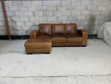Art Deco Style Cigar Tanned Brown Leather Chesterfield Left Hand Corner Sofa