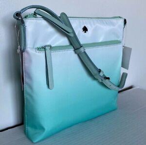 New Kate Spade Jae Degrade Flat Crossbody Nylon handbag Fiji Green