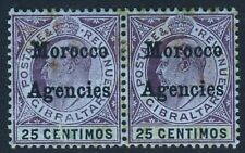 MOROCCO AGENCIES KE VII 1905 25c. Gibraltar Issue Overprinted A PAIR SG 27 MINT
