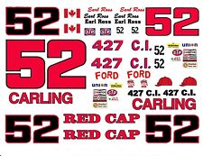#52 Earl Ross CARLING RED CAP 1967 TO 1973 FORD 1/24th - 1/25th Decals