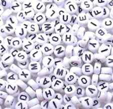 100pcs White A-Z Acrylic Flat Round Alphabet Single Letter Spacer Beads 7X4MM