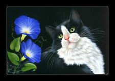 Tuxedo Cat Morning Glory Print by I Garmashova