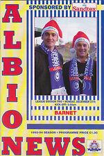 Football Programme>BRIGHTON & HOVE ALBION v BARNET Dec 1993