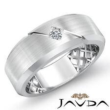 Solitaire Princess Diamond Men Half Wedding Band 7mm Unique Ring Platinum 0.15Ct