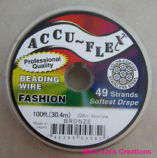 100' Accu-Flex bronze steel beading jewely wire 49 strand .024 inch Accuflex