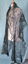 More details for an antique machine made black lace shawl with deep frill