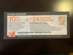 Home Depot Coupon 10% Off or Special Financing Online/In-Store expires 12/31/20