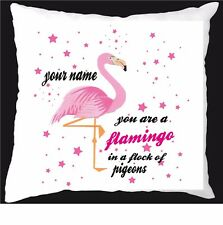 Flamingo in a flock of pigeons cushion gift birthday/girlfriend present 296