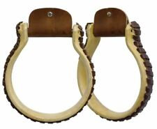 """Showman OXBOW 5"""" wide 3"""" neck STIRRUP Rawhide covered & Leather Stitched Sides"""