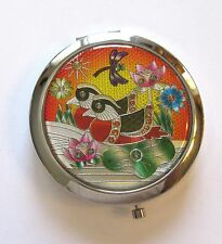 Mirror/Compact- Two Birds - flowers - dragonfly - colorful -  silver back