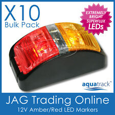 10 x 12V SUPERFLUX LED AMBER/RED SIDE MARKER LAMPS/LIGHTS - Boat/Trailer/Caravan