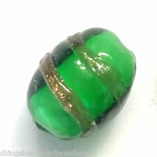 20 Green Lampwork Glass 8x10m Oval Beads