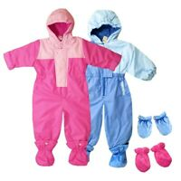 Insulated Padded Kids Snowsuit Winter Girls Boys Baby All-In-One Suit RRP £49