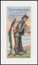 1884 SCOTT'S EMULSION Cod Liver Oil trade card, NEW Fine Art Giclee Print