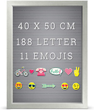 Grey Rustic Frame Message Notice Board 188 White Letter 11 Emojis 40 x 50cm