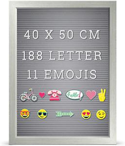 Grau Rustikal Rahmen Nachricht Anschlagtafel 188 Weiß Brief 11 Emojis 40 x 50cm