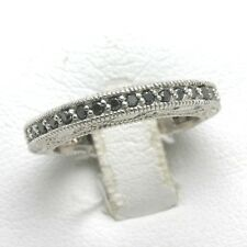 NEW 14k white gold BLACK DIAMOND eternity band engraved 3/4 carat