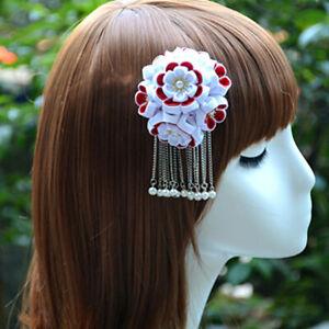 Handmade Japanese Hair Clip Red White Sakura Kanzashi Wedding Ornament 1pc