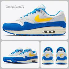 Nike Air Max 1, Signal Blue, Maze Yellow, AH8145-108, Sz UK 10, EU 45, US 11,