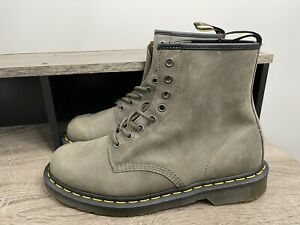 NEW Men's Dr. Doc Martens 24540 Combat Boots Soft Suede Green Gray Size 11