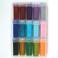 Fine Glitter Set 15 Jars and Storage Case 25 Gram per Bottle .35 oz